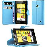 Cadorabo - Etui Housse pour > Nokia Lumia 520 < – Coque Case Cover Bumper Portefeuille (avec stand horizontale et fentes pour cartes) en BLEU CÉLESTE