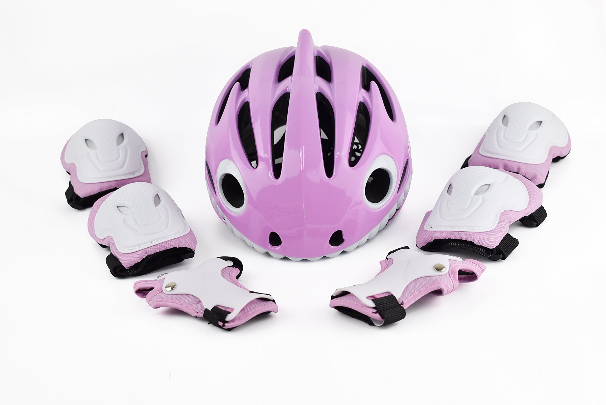 ADMIRE Kids Skateboard Skate Scooter Cycling Bike Helmet with Safety Knee Pads Elbow Wrist Protection Set Adjustable from Toddler to Youth Size for 3-10 Years Old Boys and Girls (Pink-01, XS)