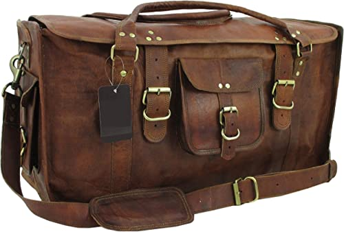 YUGE BEAR 24 FS1 Vintage Genuine Leather Flap Duffel Weekender Bag