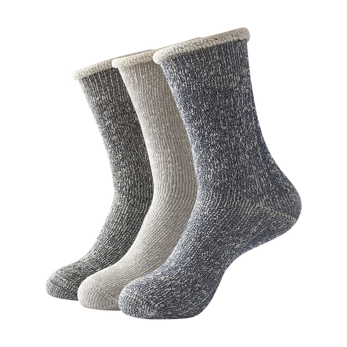 Beauttable 3 Pack Men Extra Thick Terry Cotton Dress Socks Thermal Crew Winter Warm Comfort Classic Boot Socks