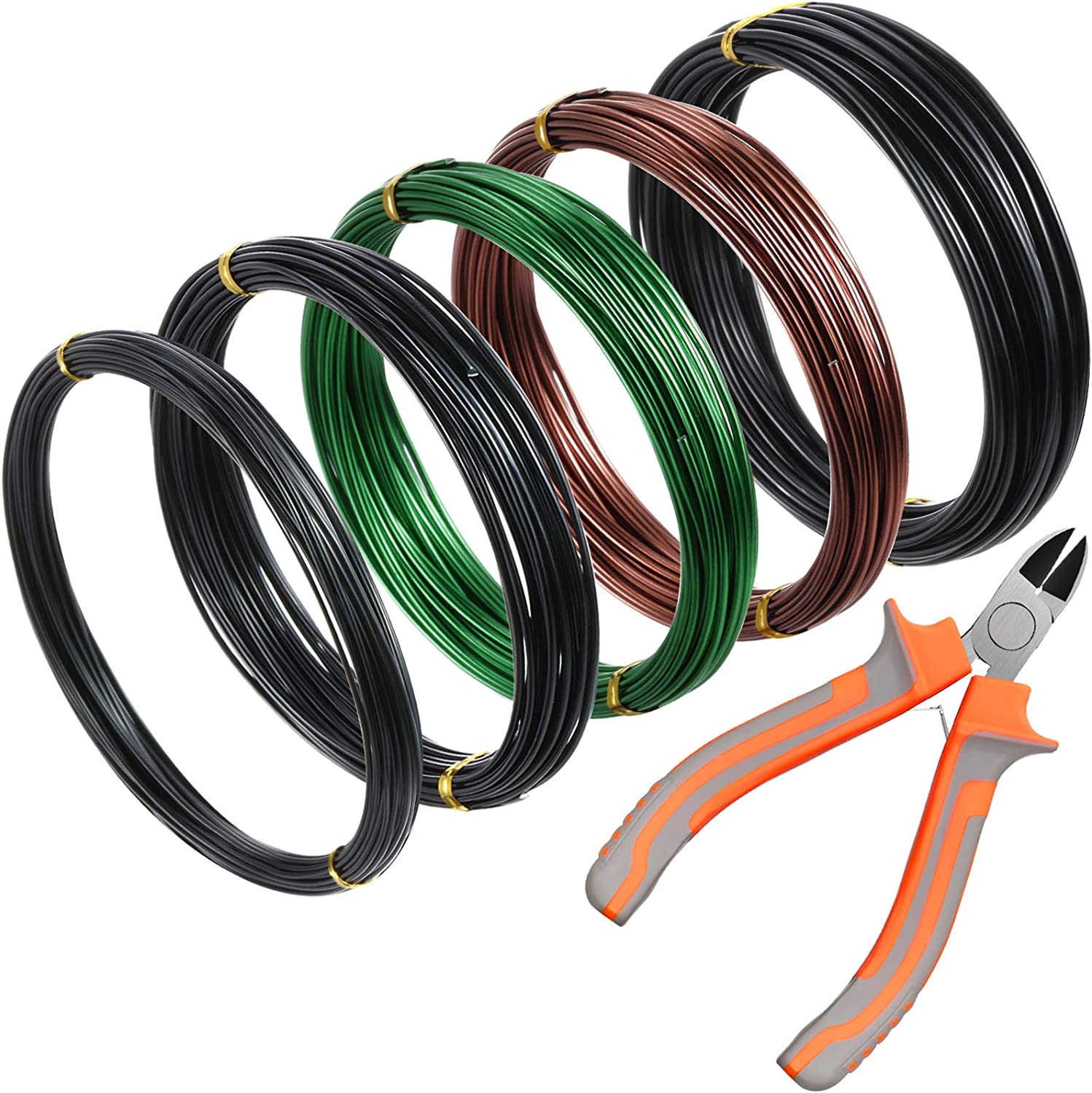 Amazon Com 5 Roll Tree Training Wires 160 Feet Total With Bonsai Wire Cutter Anodized Aluminum Wire 1 1 5 2 0 Mm Training Wire For Holding Bonsai Branches Small Trunks Black Green Brown Garden Outdoor