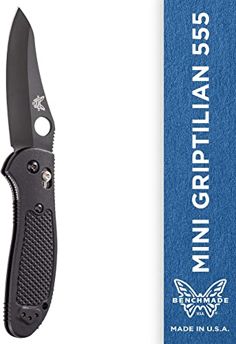 Benchmade – Mini Griptilian 555 Knife with CPM-S30V Steel, Sheepsfoot Blade, Plain Edge