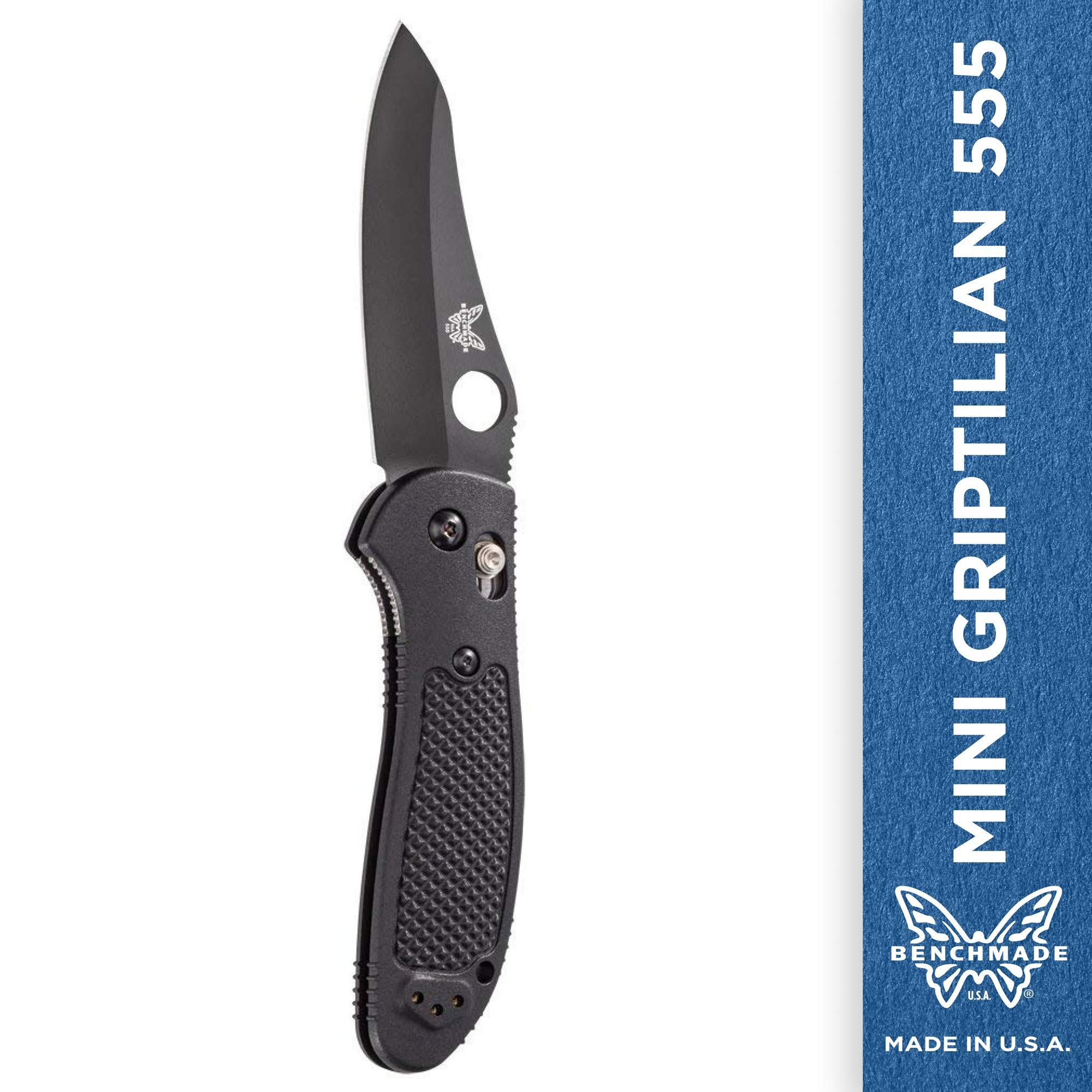Benchmade - Mini Griptilian 555 Knife with CPM-S30V Steel, Sheepsfoot Blade, Plain Edge, Coated Finish, Black Handle