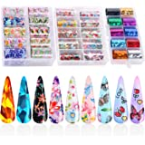 30 Color Nail Foil Transfer Sticker, Kissbuty Flower Butterfly Gliter Nail Art Stickers Tips Wraps Foil Transfer Glitters Acrylic DIY Nail Decoration, 3 Boxes (Flower Butterfly Glitters)