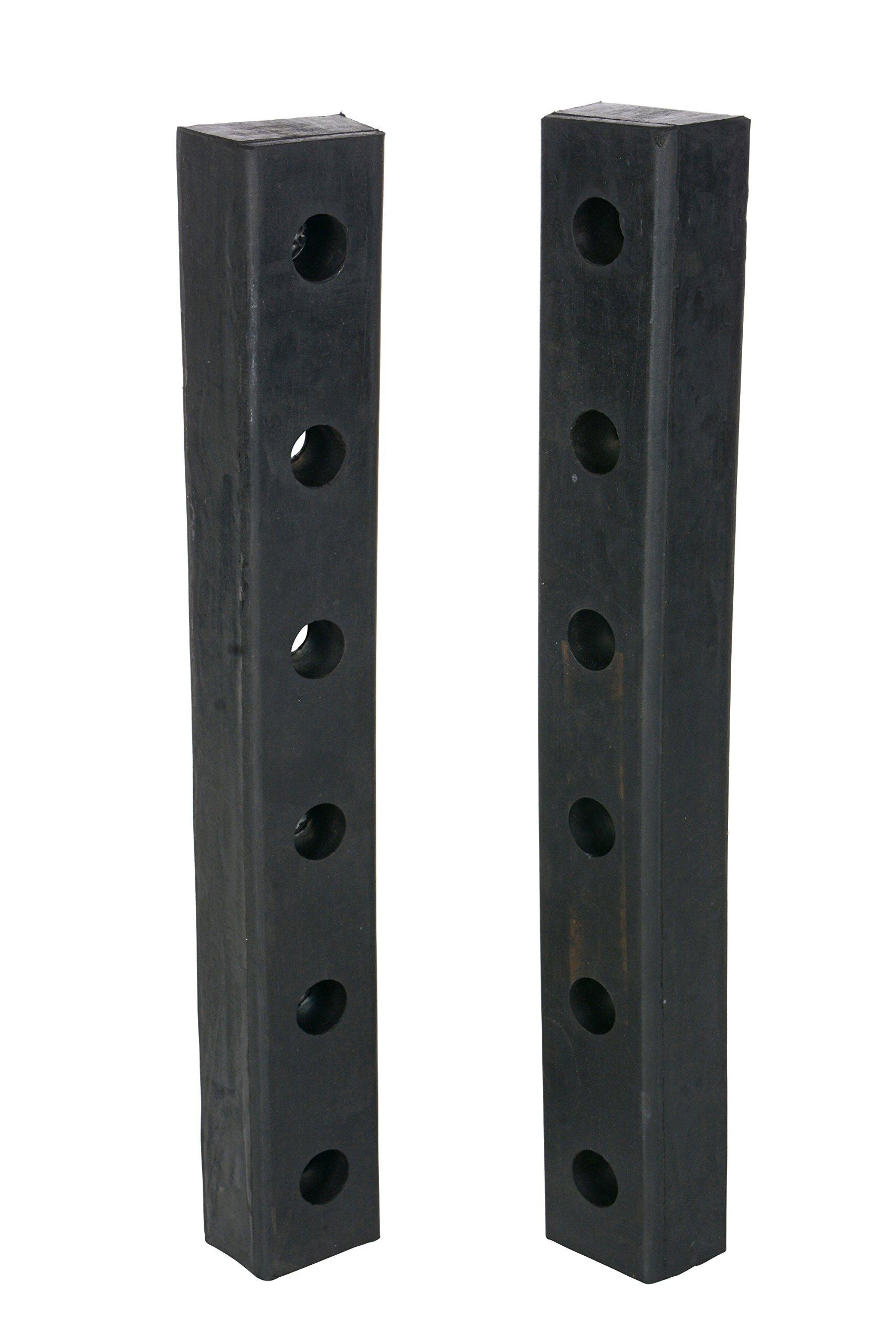 Vestil DBE-30-2 Rubber Hardened Molded Bumper, Rectangular, Vertical Mount, 30'' Length, 4-1/2'' Width, 3'' Depth (Pack of 2)