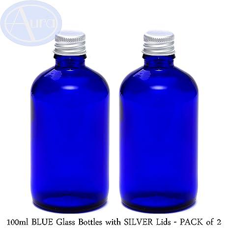 Pack de 2 botellas con tapones de rosca plateados - Cristal azul - 100 ml Uso