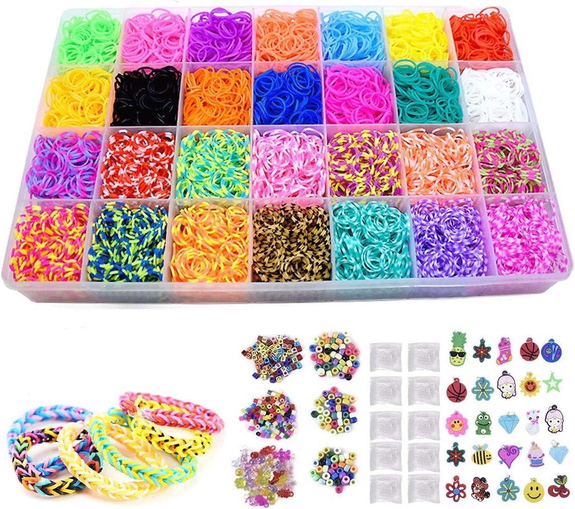 loom band P61 + 1 crochet tool Multicoloured elastics set of 260 elastic bands Kit + 10 clips kids creation elastic bracelet