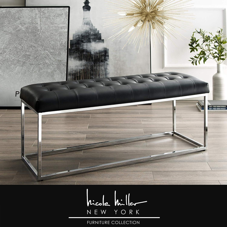 Fantastic Nicole Miller Dwayne Bench Pu Leather Upholstered Button Tufted Metal Frame Modern Black Chrome Uwap Interior Chair Design Uwaporg
