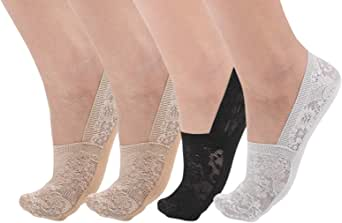 Flammi Women's Lace No Show Liner Socks Non Slip Cotton Bottom 4 Pairs