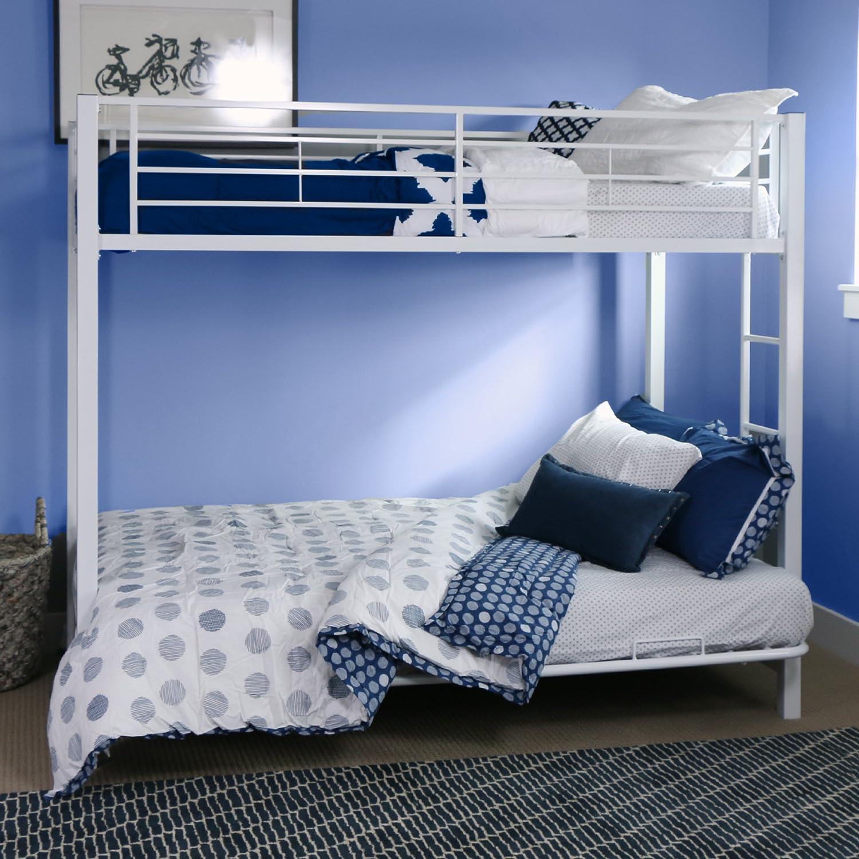 amazoncom sturdy metal bunk bed in white finish kitchen u0026 dining