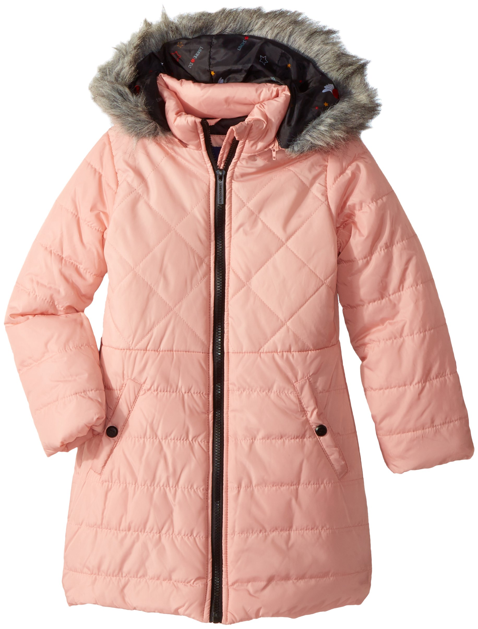LiMiTeD Too Little Girls' Too Multi Quilted Long Puffer Coat W/Printed, Blush, 4
