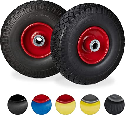 "260 x 85 mm 80 kg Black-Red 2 x Hand Truck Tyre 3.00-4/"" 20mm Axle Non-Flat Solid Rubber Wheels Relaxdays"
