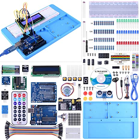 UNIROI Compatible with Arduino IDEStarter Kit, Complete Electronic Kit with  Arduino IDE with Detailed Tutorials, RAB Holder, Breadboard with Arduino