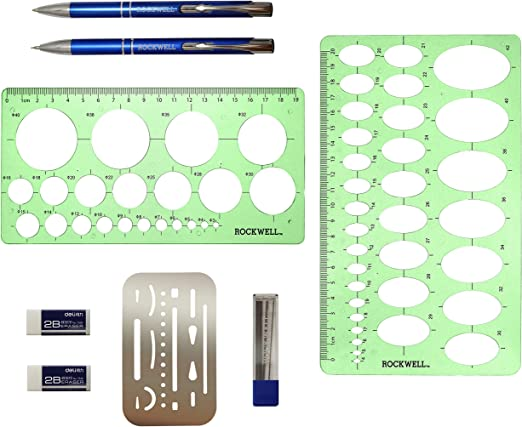 leegoal 10 PCS Reusable Drawing Stencils Scale Template Set for Bullet Journal//Scrapbooking//Notebook//Planner//Diary//Card Making//DIY Craft Projects 10.23 x 6.88 Inch Stencils for Painting