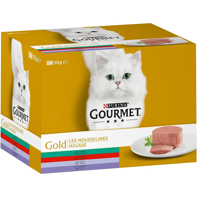 Gourmet Gold Les Mousselines avec des Légumes Multivariétés - 12 x 85 g - Boîtes pour Chat Adulte - Lot de 8 12138624