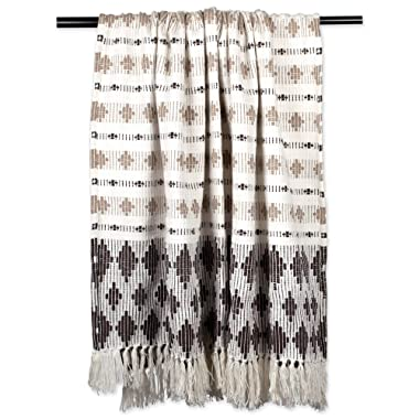 DII Classic Colby Southwest Cotton Handwoven Stripe Blanket Throw with Fringe for Chair, Couch Picnic, BBQ, Camping, Beach, 50 x 60, Dark Brown & Stone