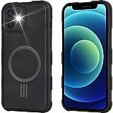 Arae for iPhone 12 Mini Case [Mag-Safe Wireless Charge] Leather Back Shockproof Hybrid Phone Case - Black