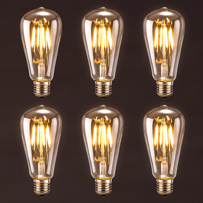 antique led bulb oak leaf 4w st64 vintage edison light bulb led lighting soft white 2700k pack of 6 amazoncom - Vintage Light Bulbs