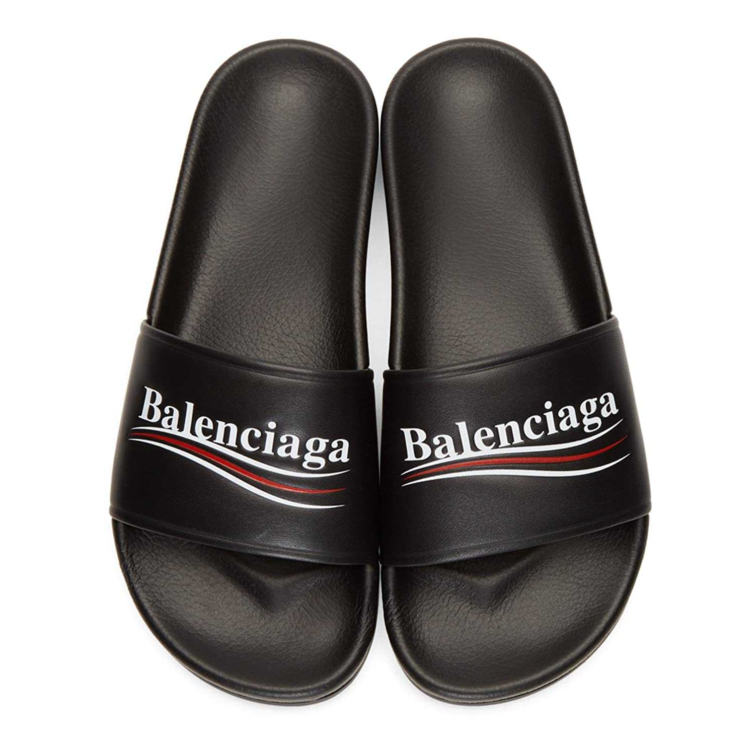 81d7c82f109 TOPSHOD Unisex Mens Womens Balenciaga Sandals Piscine Flat Balenciaga Slide  Leather Logo Black  Amazon.co.uk  Shoes   Bags