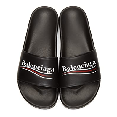 b3cc6f9f6019 TOPSHOD Unisex Mens Womens Balenciaga Sandals Piscine Flat Balenciaga Slide  Leather Logo Black  Amazon.co.uk  Shoes   Bags