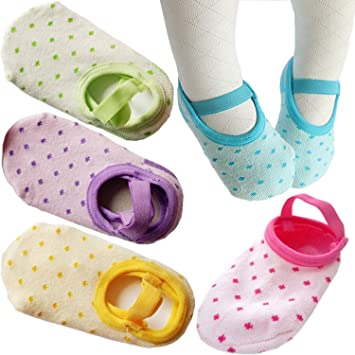 Amazon Com Flyingp Toddler Anti Slip Socks 5 Pairs Baby Socks For 8