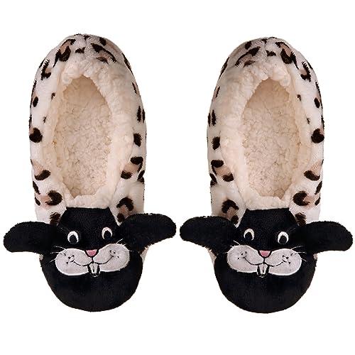 1d9274a6a8d5 Dosoni Women Girls Winter Plush Warm Leopard Pattern Animal Soft Cute Home  Slippers (Small -