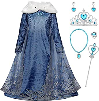 YOSICIL Niñas Cosplay Vestido de Princesa Elsa con Capa Vestido de Frozen Manga Larga Vestido Largo Disfraz Azul Dulce Disfraz Ceremonia de Fiesta Halloween Navidad 3-9 años 100-150cm