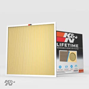 K&N 20x25x1 HVAC Furnace Air Filter Lasts a Lifetime, Washable, Merv 11, Removes Allergies, Pollen, Smoke, Dust, Pet Dander, Mold, Smog, and More, Breathe Cleanly at Home or in the Office, 20x25x1