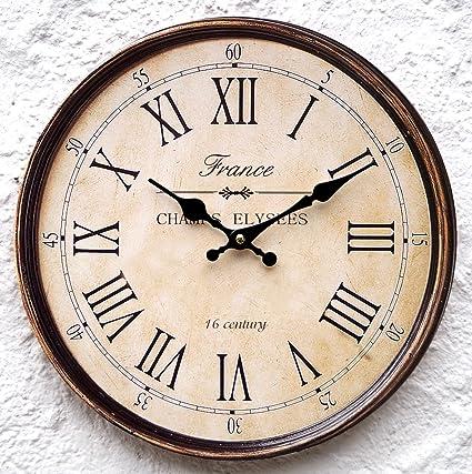Reloj pared Reloj marrón grande Colonial Números Romanos estilo rústico Shabby estilo rústico Paris Vintage Diseño