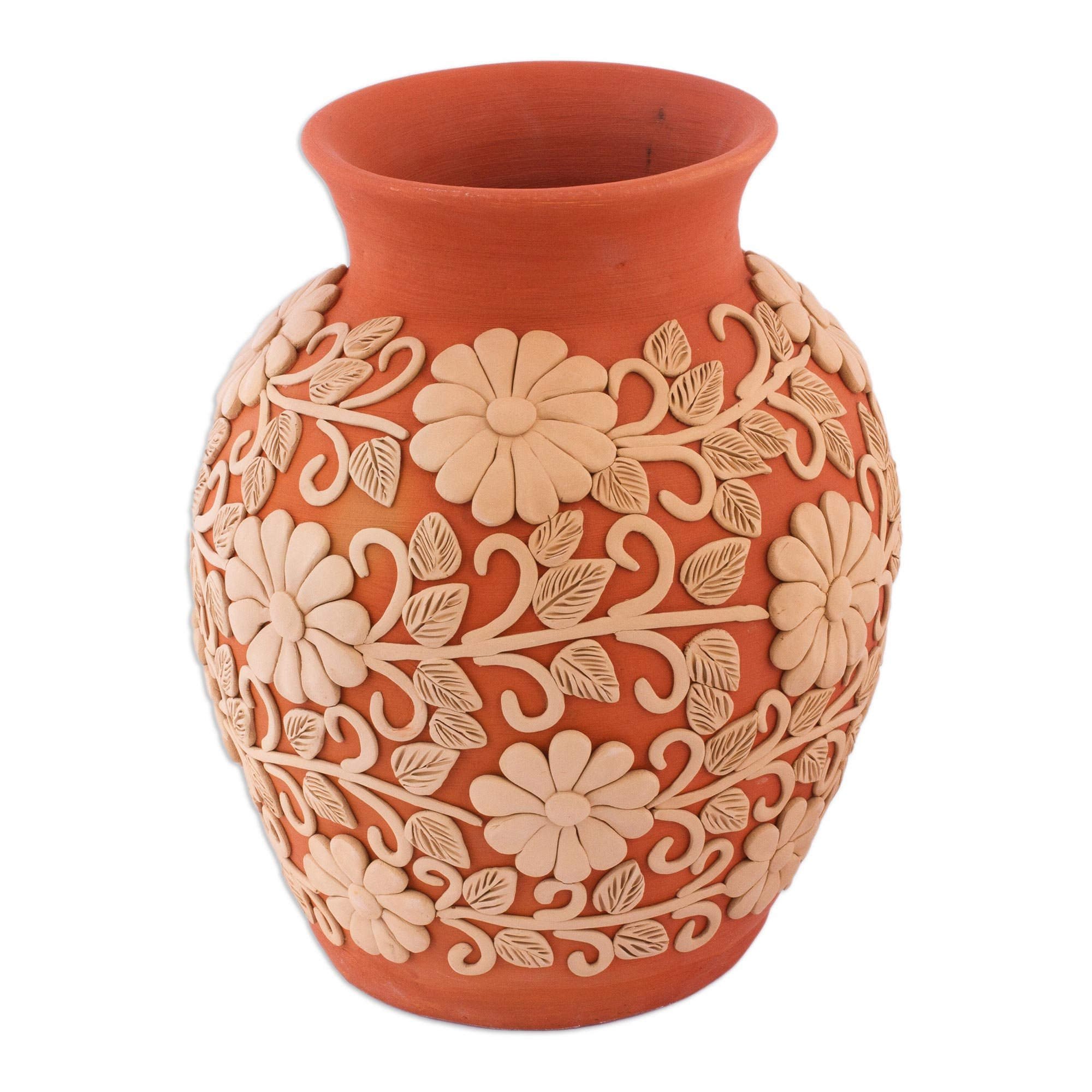 NOVICA Floral Ceramic Vase, Earthone, 'Pure Earth'