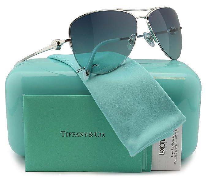 6afbf8d65f48 Tiffany   Co. TF3021 Aviator Sunglasses Silver w Blue Gradient (6002 ...