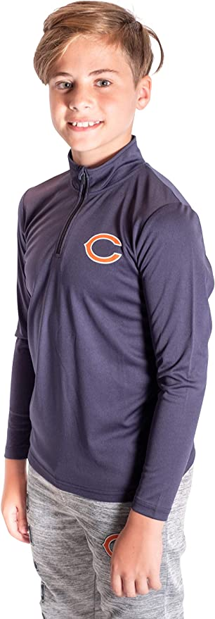 Ultra Game NFL Chicago Bears Boys Quarter Zip Pullover Athletic Quick Dry Long Sleeve Tee Shirt Navy 10-12