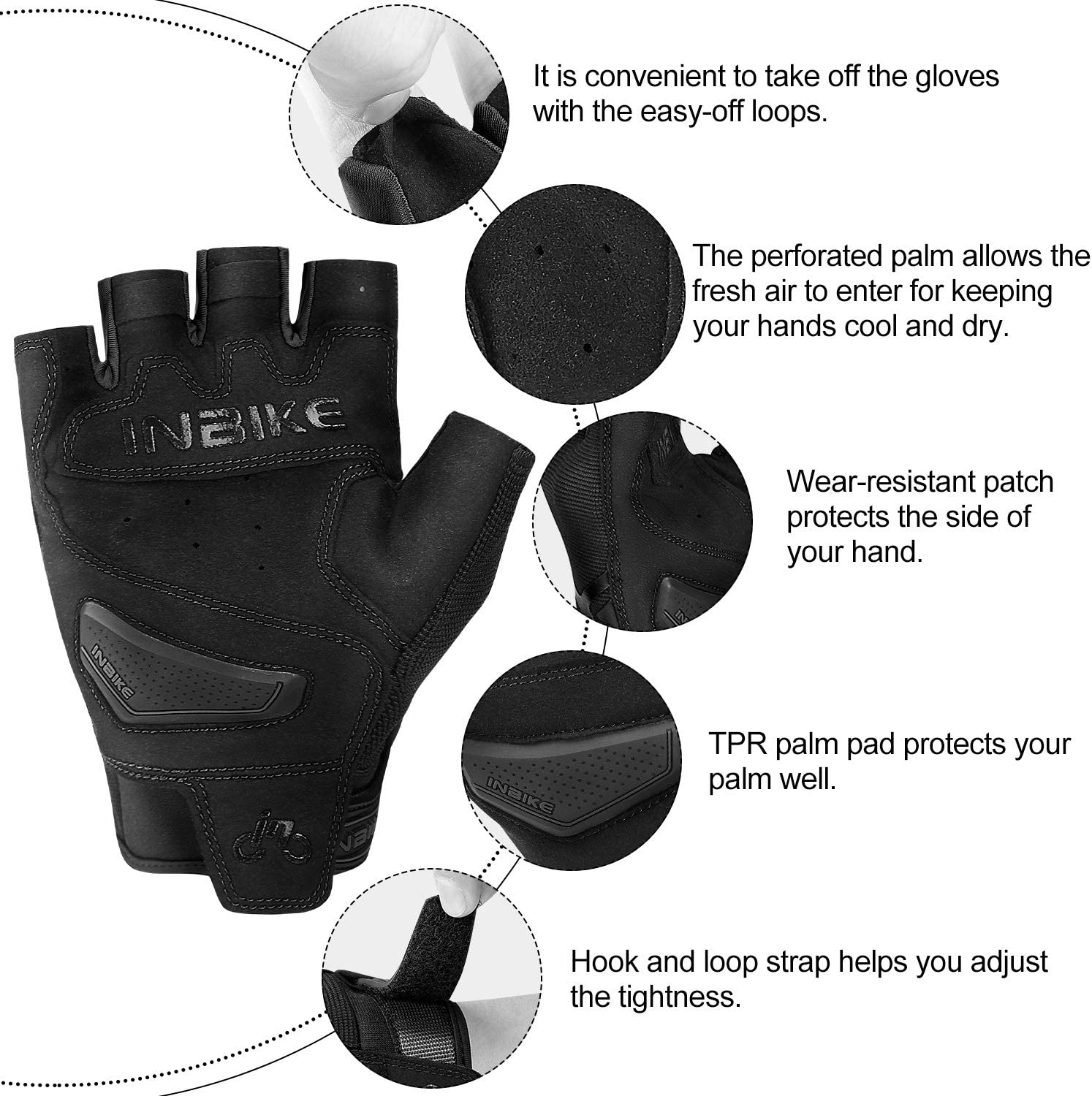 INBIKE Breathable Mesh Half Finger Motorcycle Gloves Hard Knuckle Wear Resistant with TPR Padded Palm Cushioning Black Red Medium