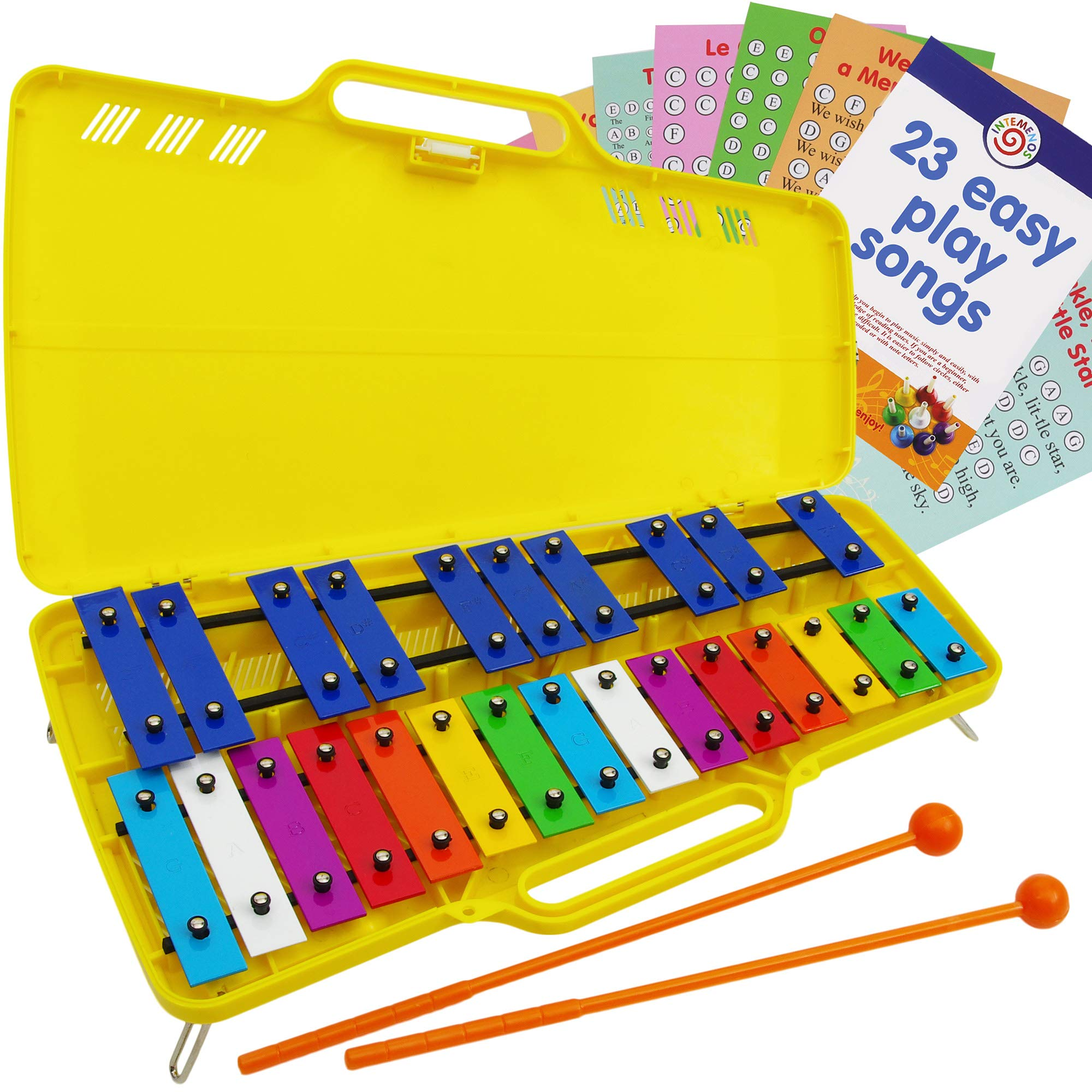 Glockenspiel 25 Notes - Metall Xylophone Chromatic - Easy Music Cards with 23 Songs by inTemenos