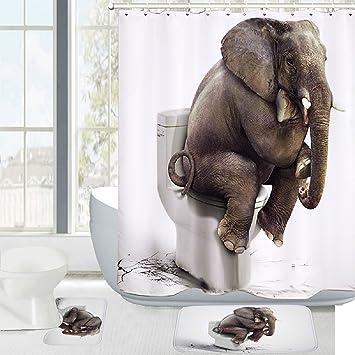 Amagical Elephant Digital Printing 16 Piece Bathroom Mat Set Shower Curtain Set Bathroom Mat Contour Mat Toilet Cover Anti Bacterial Waterproof Polyester Shower Curtain with 12 Hooks