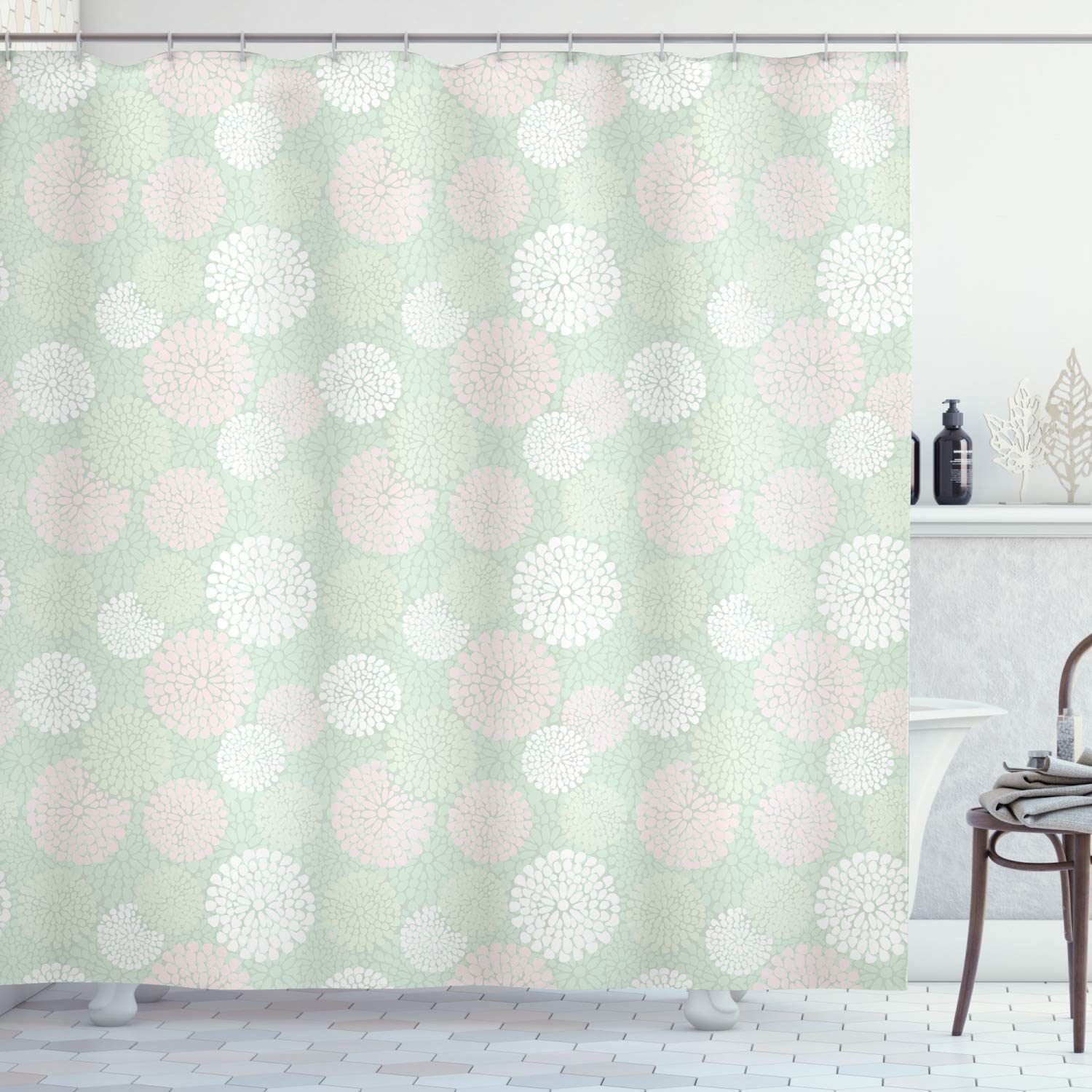 Ambesonne Mint Shower Curtain, Dahlia Flowers in Pastel Tones Spring Blooms Theme Floral Pattern, Cloth Fabric Bathroom Decor Set with Hooks, 70