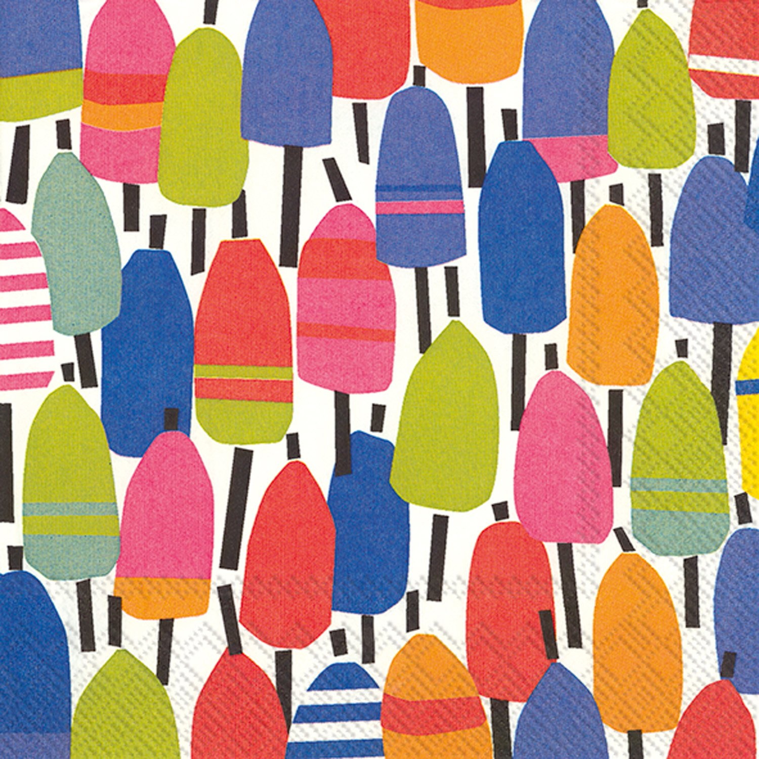 Celebrate the Home Kate Nelligan 3-Ply Paper Cocktail Napkins, Buoys, 20 Count