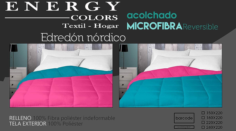 Energy Colors Textil - Hogar - Tokio - Relleno Nórdico 350 gr Reversible Liso Tacto Plumón Microfibra Otoño - Invierno (Aqua, Cama 90 (150 x 220 cm))