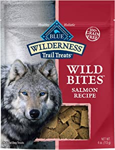 Blue Buffalo Wilderness Trail Treats Wild Bites Grain Free Soft-Moist Dog Treats, Salmon 4-oz bag