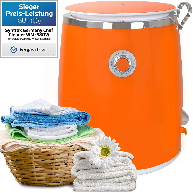 Syntrox Germany 3kg WM DI 380W lavatrice con fionda Camping lavatrice Mini Lavatrice (arancione)