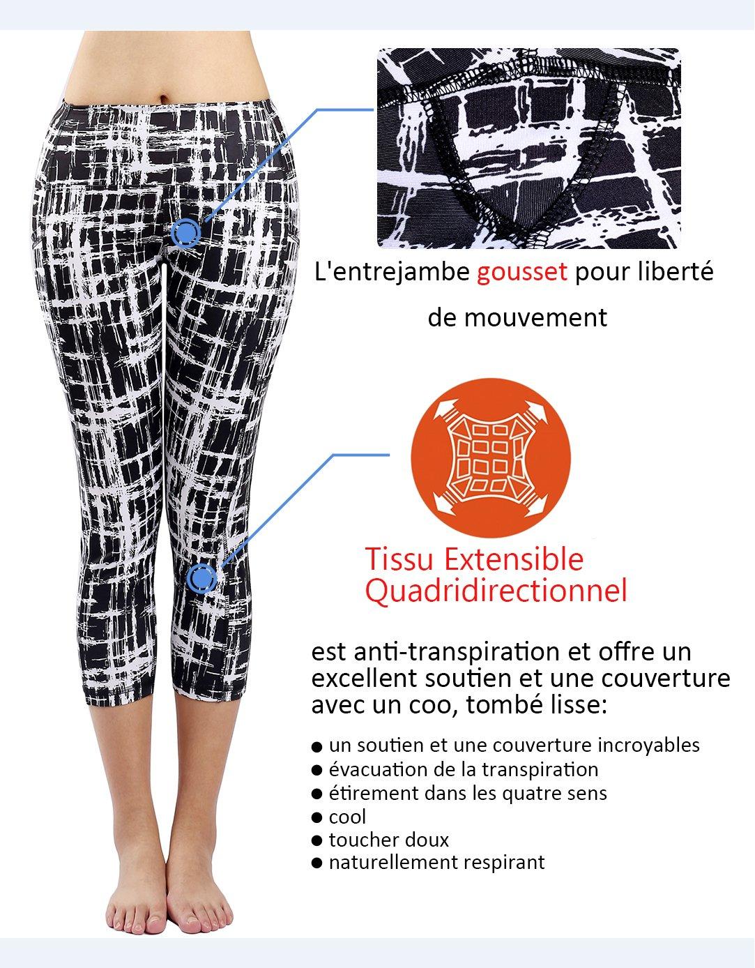 Munvot Legging Femmes Sport Jogging Capri Yoga Fitness Shorty Noir Séchage  Rapide Poches Taille Grande a8f9f0a7a46