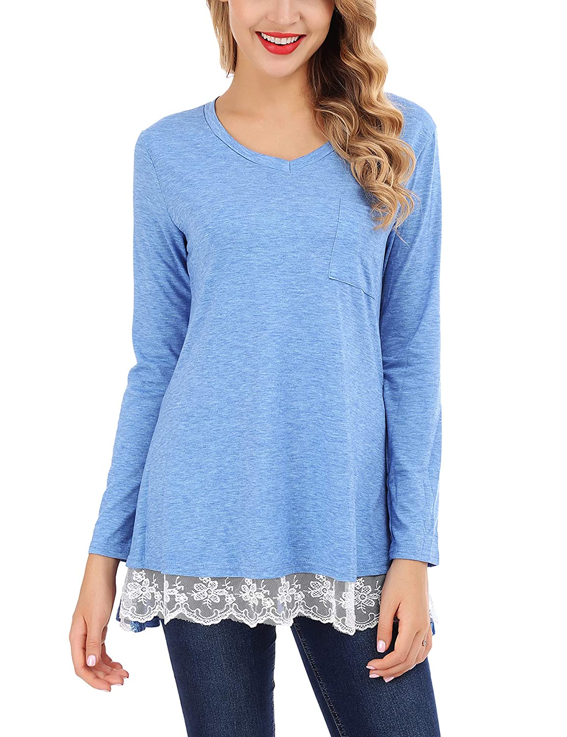 b08a36e8018 Casual Tunic Shirts: Long Sleeve Lace Tunic Shirts Loose Tunic Tops for  Women, Ladies, Juniors and Teen girls. This tunics is made of lightweight  and soft ...