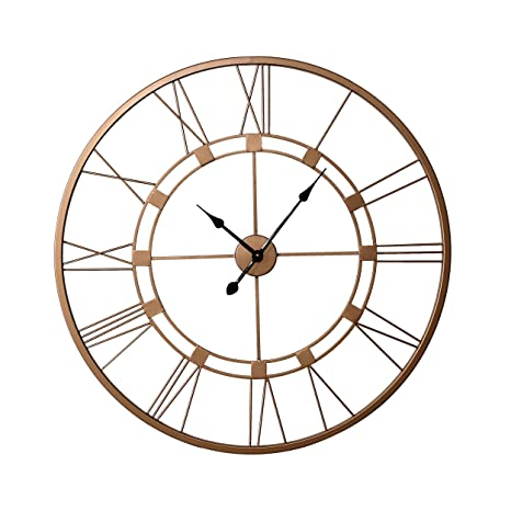 Reloj de pared de 750 mm, color cobre, extra grande, metal vivo romano