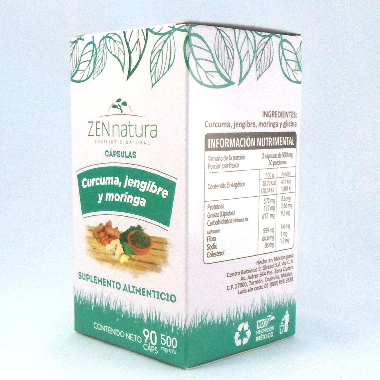Amazon.com: Zen Natura Curcuma-Jengibre y Moringa 90 capsulas 500mg. Turmeric-Ginger-Moringa: Health & Personal Care