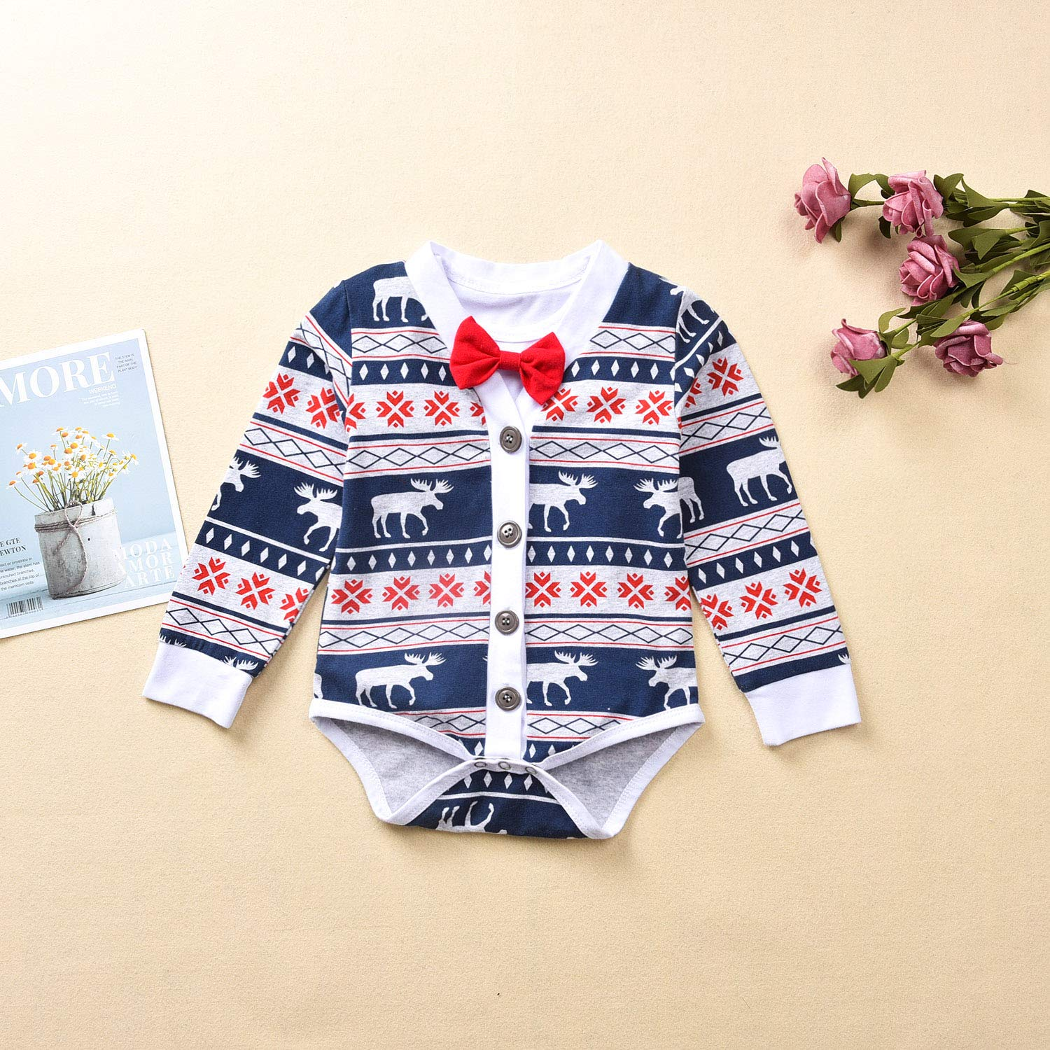 Fioukiay Preemie Newborn Baby Boys Christmas-Bodysuit-Romper-Clothes-Outfits-Set