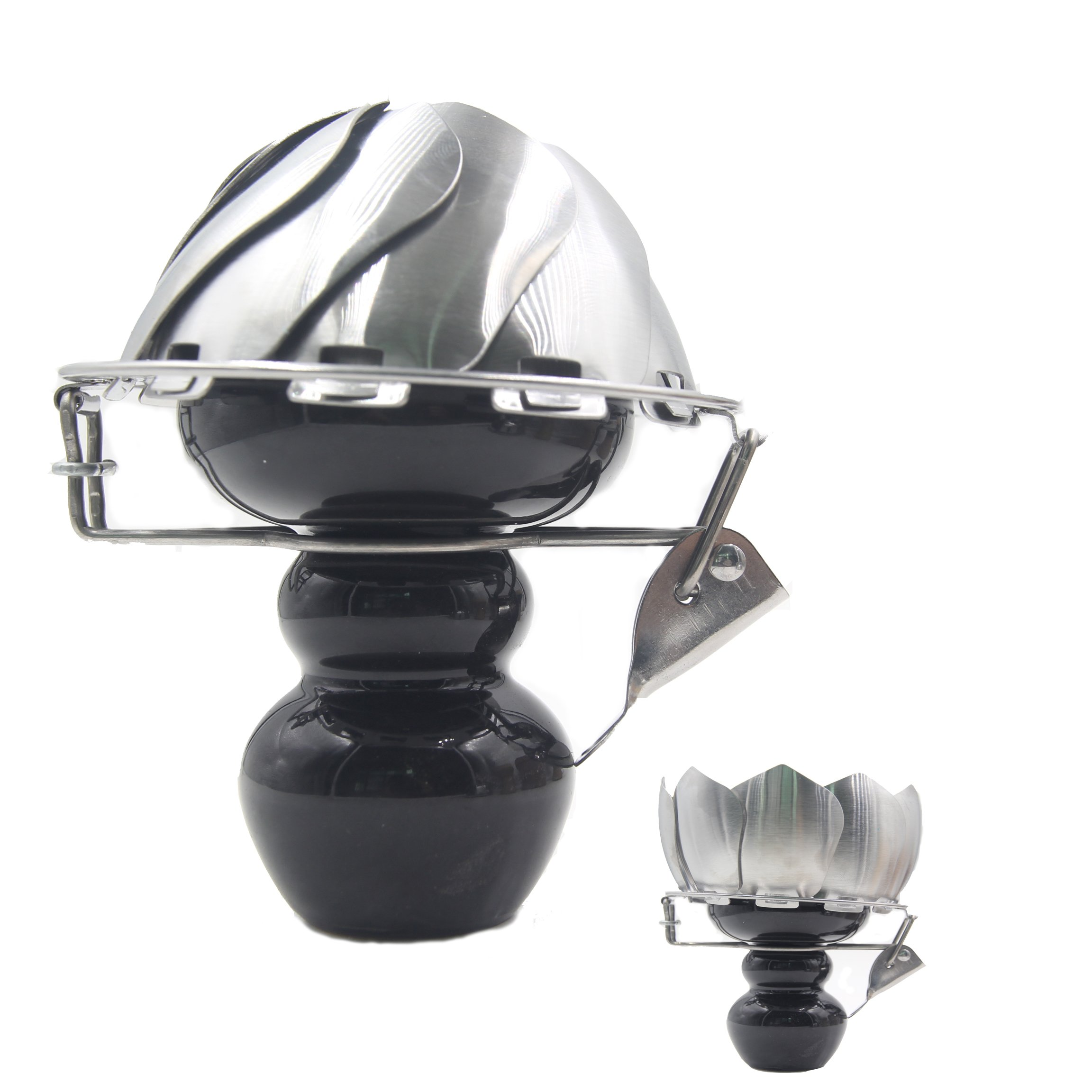 Hookah Charcoal Holder Ceramic Head Charcoal Screen Funnel Burner Foldable Charcoal Bowl With Wind Cover For Hookah (Black)