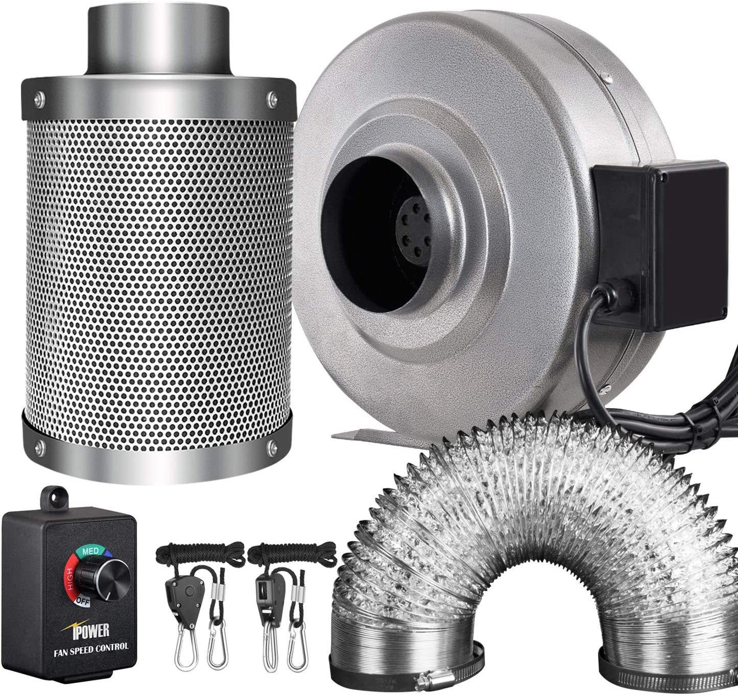 """iPower GLFANXINL4FILT4MD8CTR 4 Inch 190 CFM Inline Fan Carbon Filter 8 Feet Ducting Combo with Variable Speed Controller and Rope Hanger for Grow Tent Ventilation, 4"""" Fan & Filter, Grey"""