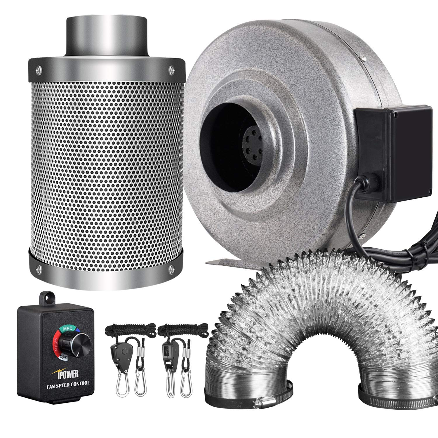 iPower 4 Inch 190 CFM Inline Fan Carbon Filter 8 Feet Ducting Combo with Variable Speed Controller and Rope Hanger for Grow Tent Ventilation