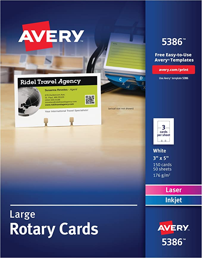 Amazon Com Avery 5386 Large Rotary Cards Laser Inkjet 3 X 5 3 Cards Per Sheet Box Of 150 Cards Rotary File Cards Office Products