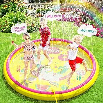 Peradix Splash Pad 170cm PVC Chapoteo Almohadilla Aspersor de Juego,Almohadilla de Aspersión Piscina de Juego de Verano para Niños para Familiares Aire Libre Fiesta Playa Jardín: Amazon.es: Juguetes y juegos